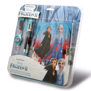 Zegarek Frozen II - Krain Lodu 2 długopis+notatnik