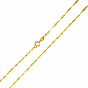 Łańcuszek złoty singapur z blaszką pełny 585 45cm