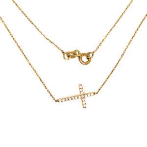 Złoty naszyjnik celebrytka z krzyżykiem 585