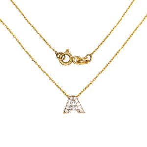 Złoty naszyjnik celebrytka z literą A 585