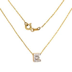 Złoty naszyjnik celebrytka z literą E 585