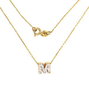 Złoty naszyjnik celebrytka z literą M 585
