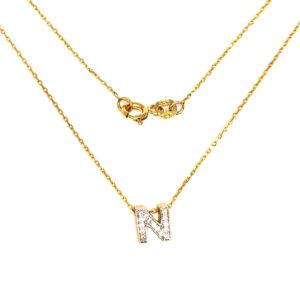 Złoty naszyjnik celebrytka z literą N 585