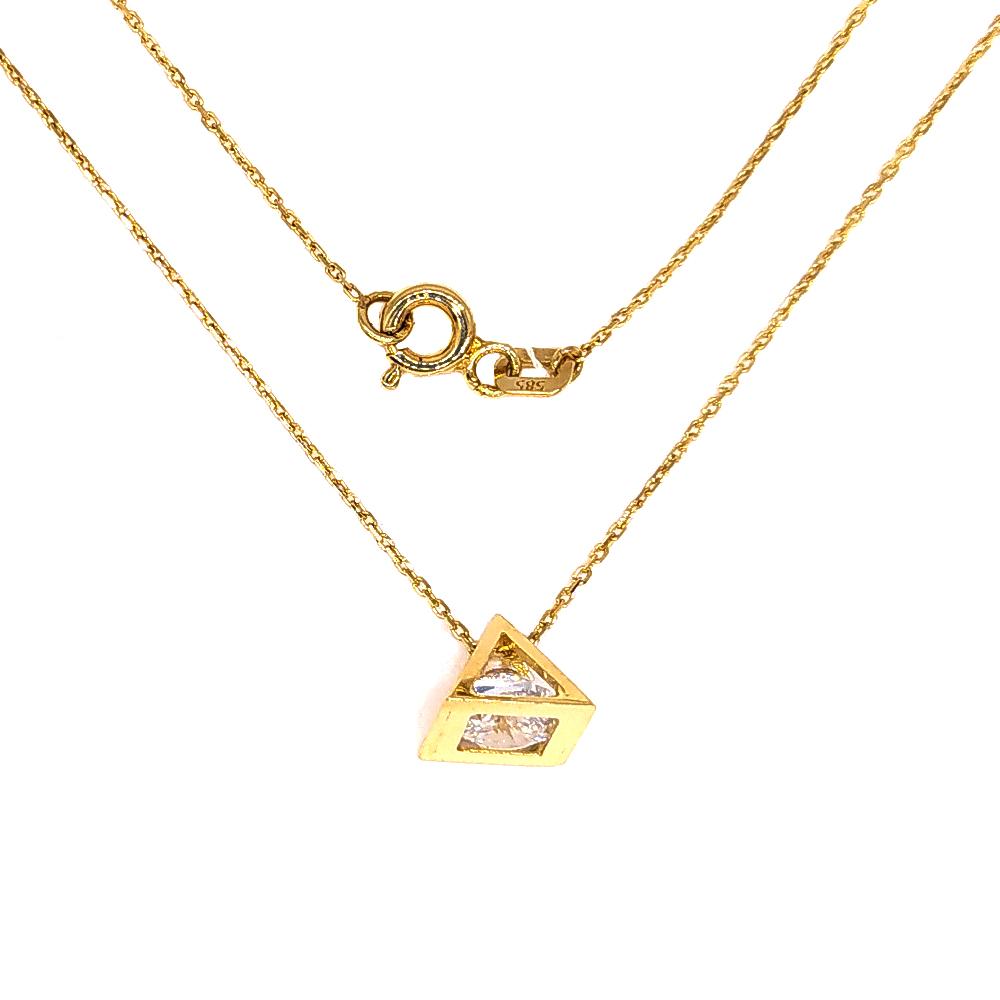Złoty naszyjnik celebrytka z piramidą 585