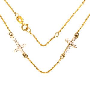 Złoty naszyjnik celebrytka z podwójnym krzyżykiem 585