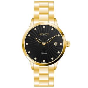 Atlantic Elegance 29142.45.67MB zegarek damski szwajcarski złoty czarna tarcza