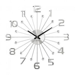 Zegar ścienny Srebrny LAVVU CRYSTAL SUN LCT1230