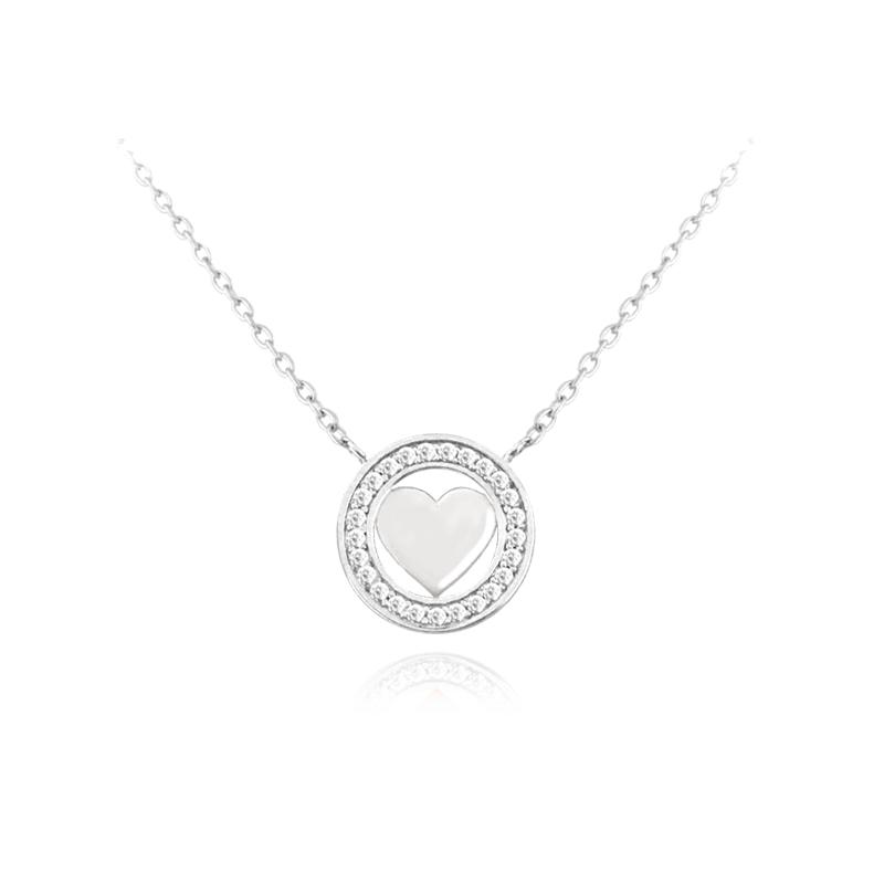 Naszyjnik srebrny SERCE LOVE MINET z białymi cyrkoniami JMAS0080SN45