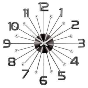 Zegar ścienny Czarny LAVVU CRYSTAL SUN LCT1232