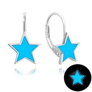 Kolczyki świecące srebrne MINET GWIAZDY niebieskie JMAD0023BE00