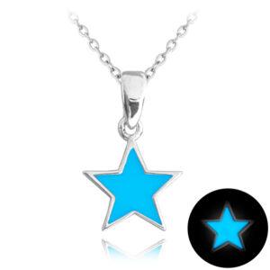Naszyjnik świecący srebrny MINET GWIAZDA niebieski JMAD0023BN38
