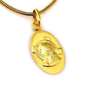Złoty medalik zawieszka wizerunek Jezusa 58514K